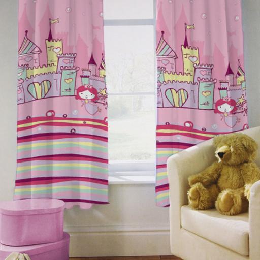 kinder kinder vorh nge prinzessinen schloss m dchen von with ebay. Black Bedroom Furniture Sets. Home Design Ideas