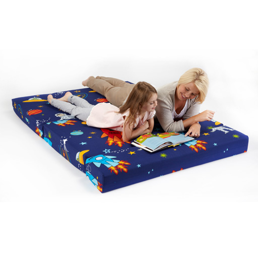 Double kids folding guest bed space boy planets rocket for Childrens rocket bed