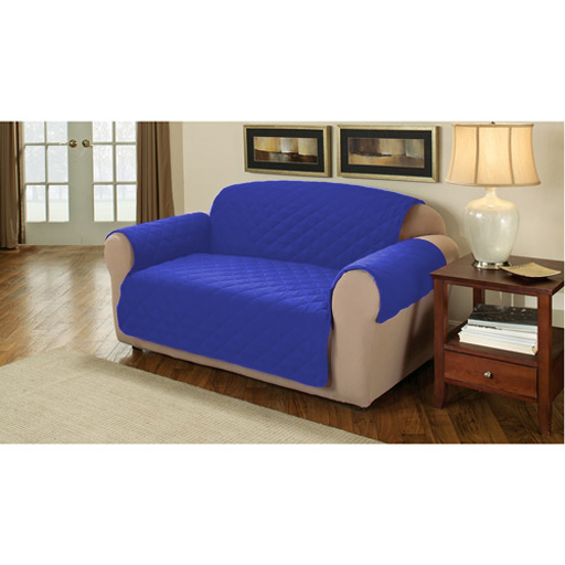bleu coton matelass 1 place fauteuil divan meuble protecteur housse jet de lit ebay. Black Bedroom Furniture Sets. Home Design Ideas