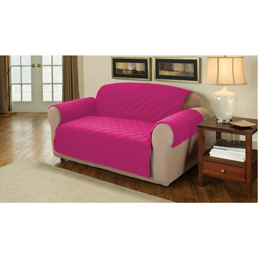 Pink Quilted Cotton 2 Seater Sofa Furniture Protector