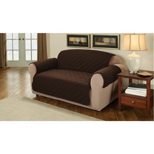 Brown Quilted Cotton 3 Seater Sofa Furniture Protector