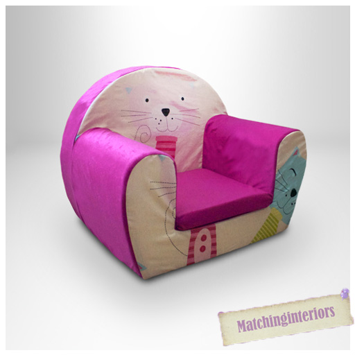 Cat nap pink childrens kids comfy foam chair toddlers for Toddler foam chair