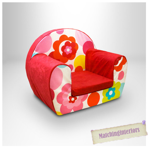 Floral red childrens kids comfy foam chair toddlers for Toddler foam chair