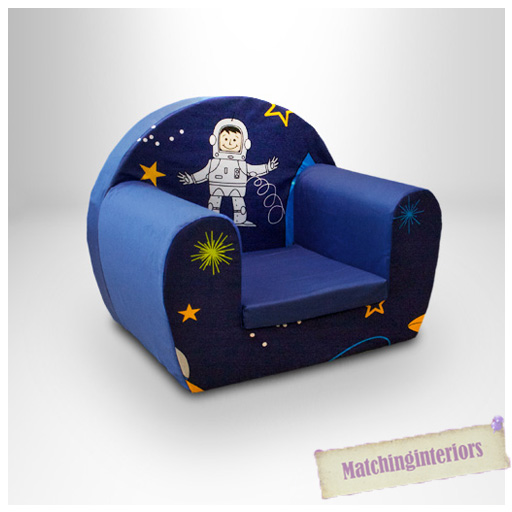 Space Boy Blue Childrens Kids Comfy Foam Chair Toddlers ...