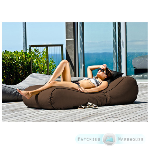 Outdoor garden waterproof bean bag sun lounger recliner for Bean bag chaise longue