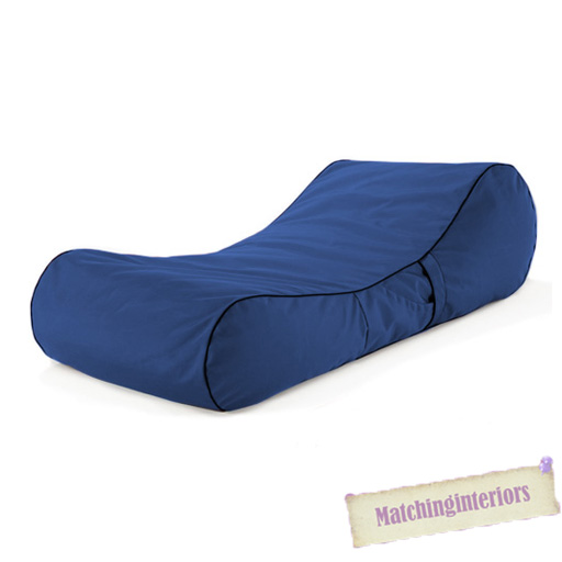 Blue splash proof bean bag sun lounger chaise longue for Bean bag chaise longue