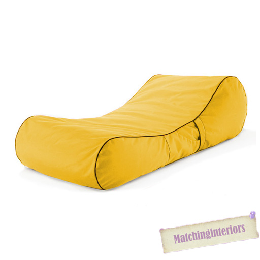 Yellow splash proof bean bag sun lounger chaise longue for Bean bag chaise lounge