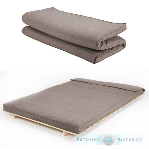 Tissu taille double futon matelas pliant mousse rempli amovible housse 2 plac - Taille matelas 2 places ...