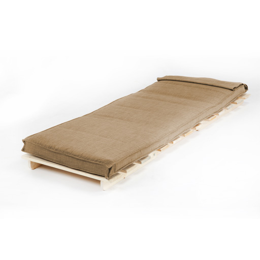 beige single 1 seater fabric complete futon wood base. Black Bedroom Furniture Sets. Home Design Ideas
