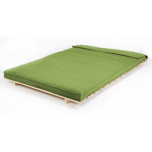 Lime Double 2 Seater Fabric Complete Futon Wood Base