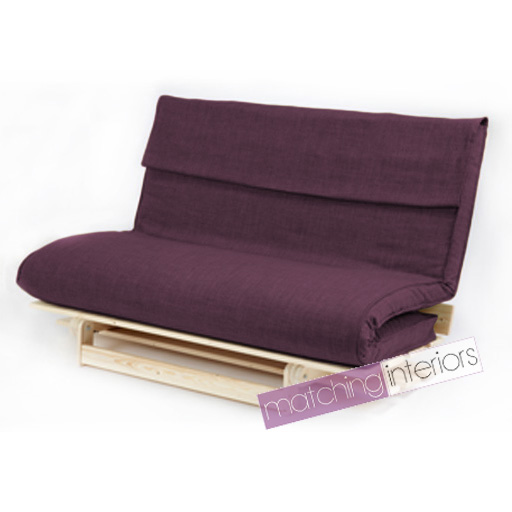 plum double 2 seater fabric complete futon wood base & fold up