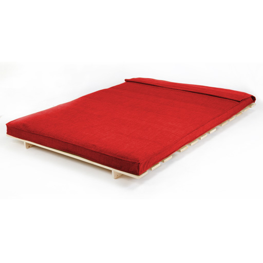 rot doppel 2 sitzer stoff complete futon holz basis. Black Bedroom Furniture Sets. Home Design Ideas