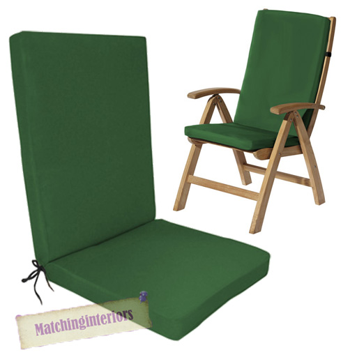 Green Water Resistant Highback Garden Dining Chair Back Seat Cushion Pa