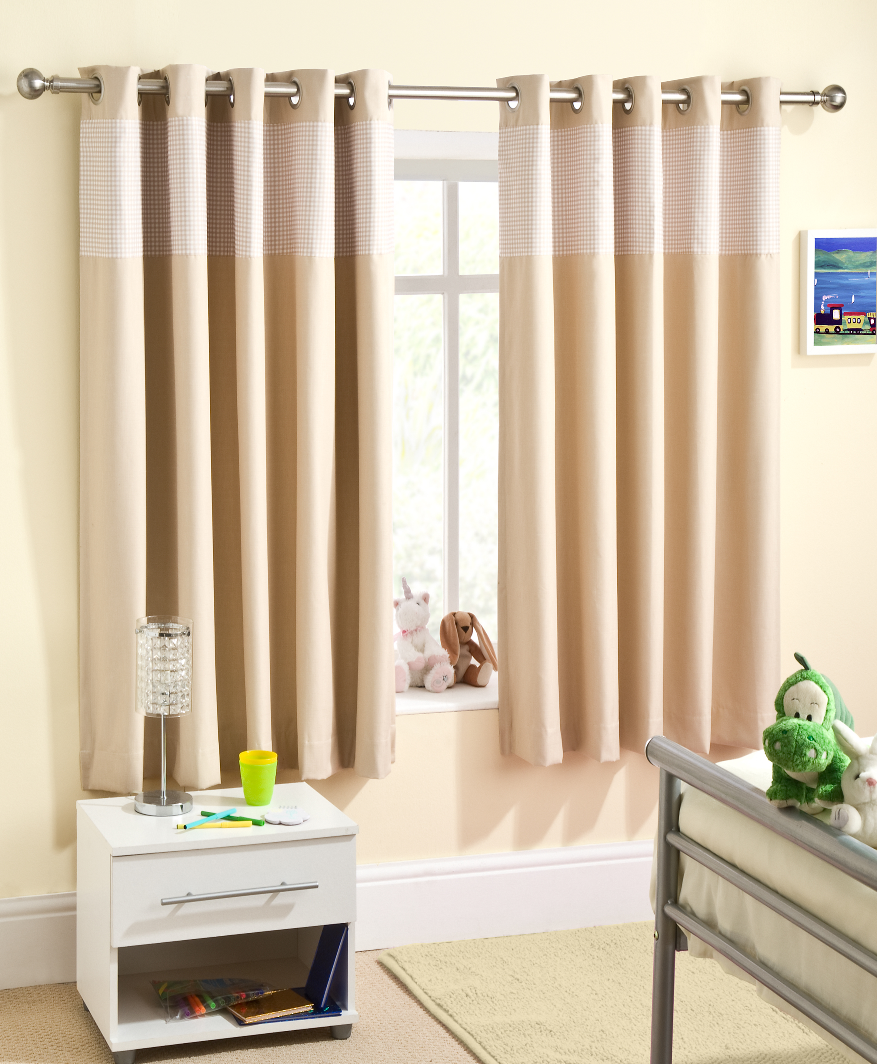 Childrens Gingham Curtain Thermal Blockout Eyelet Ring Top Curtains Kids Nursery