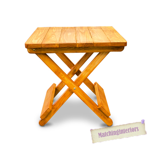 Teak finish wood side folding picnic camping table small for Small wooden garden table