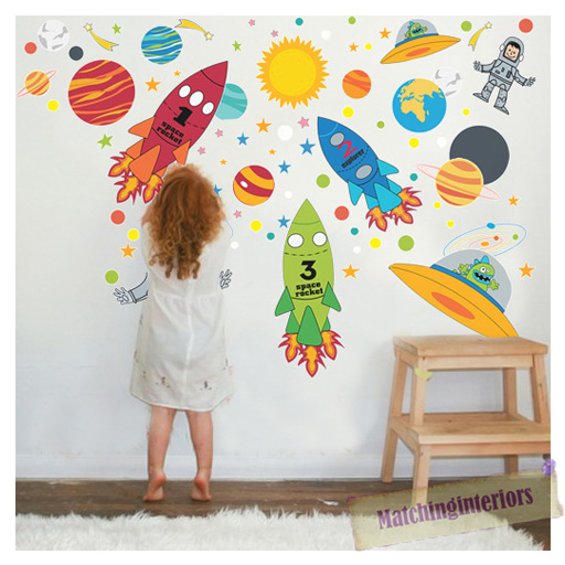 childrens space boy wall stickers decals nursery boys