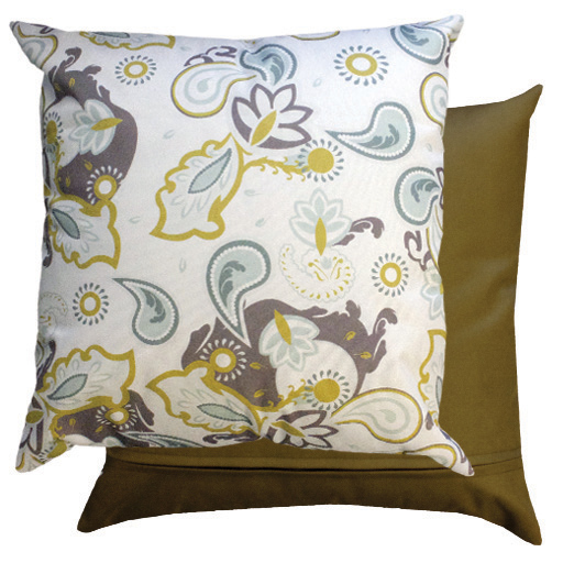 Olive Green Paisley Water Resistant Outdoor Printed Garden Scatter Cushion Cane
