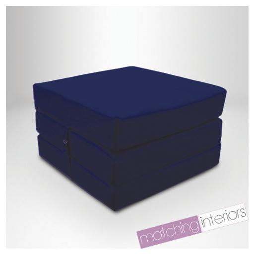 marineblau 100 baumwolle ausklappbar einzeln z bett w rfel gast futon stuhlbett ebay. Black Bedroom Furniture Sets. Home Design Ideas