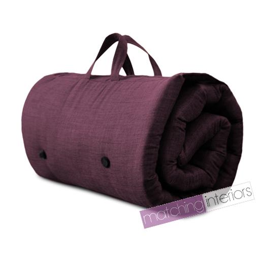 Plum purple travel guest sleepover mattress roll up futon - Matelas futon de voyage ...