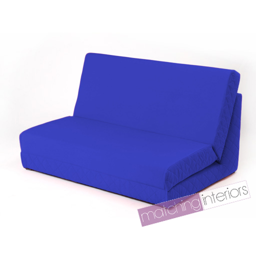 Blue Fold Out Z Bed Double Chair 2 Seat Sofa Guest Bed Mattress Futon Student