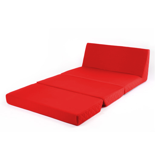 Red Fold Out Z Bed Double Chair 2 Seat Sofa Guest Bed