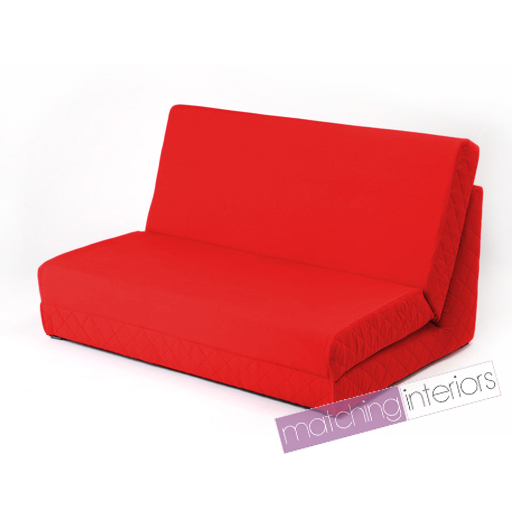 Red Fold Out Z Bed Double Chair 2 Seat Sofa Guest Bed Mattress Futon Student