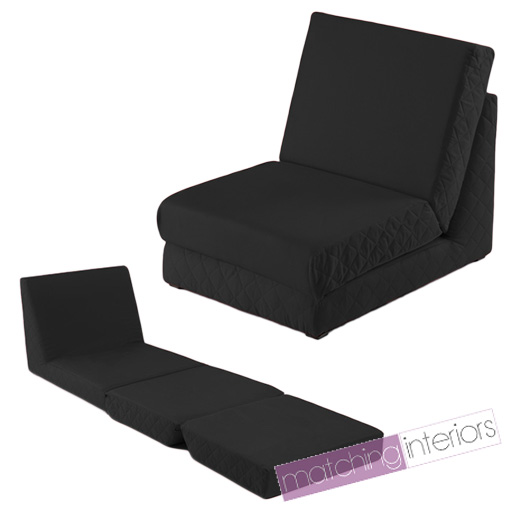 Black Fold Out Z Bed Single Chair 1 Seat Chair Guest Bed Mattress Futon Stude
