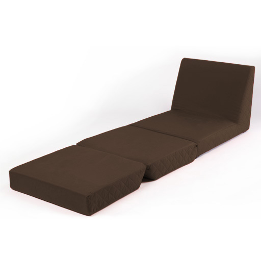 Brown Fold Out Z Bed Single Chair 1 Seat Chair Guest Bed Mattress Futon Stude