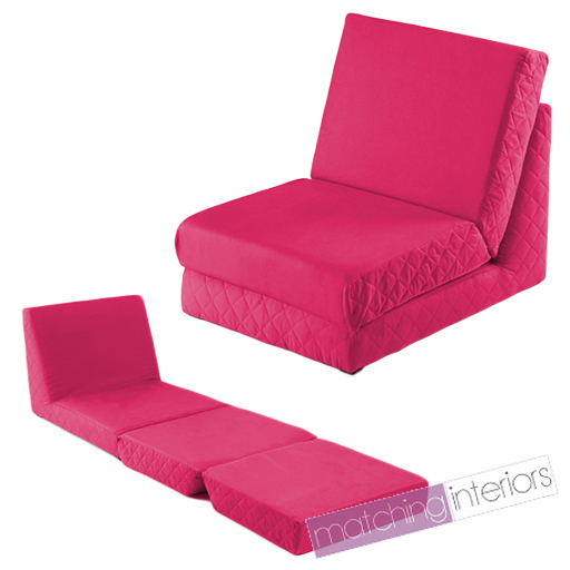 Pink Fold Out Z Bed Single Chair 1 Seat Chair Guest Bed Mattress Futon Studen