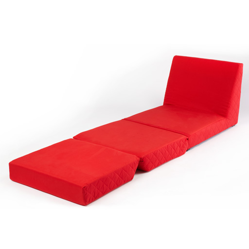 Red Folding Z Bed Single Chair Bed 2 Seat Sofa Fold Out