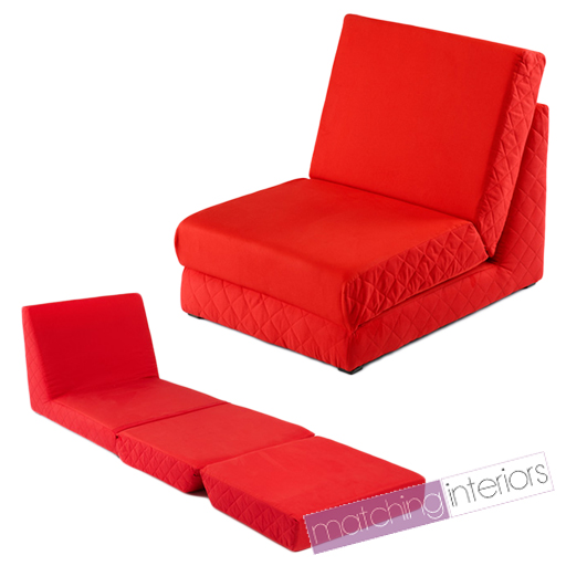 Red folding z bed single chair bed 2 seat sofa fold out guest beds mattress futo ebay Single couch bed