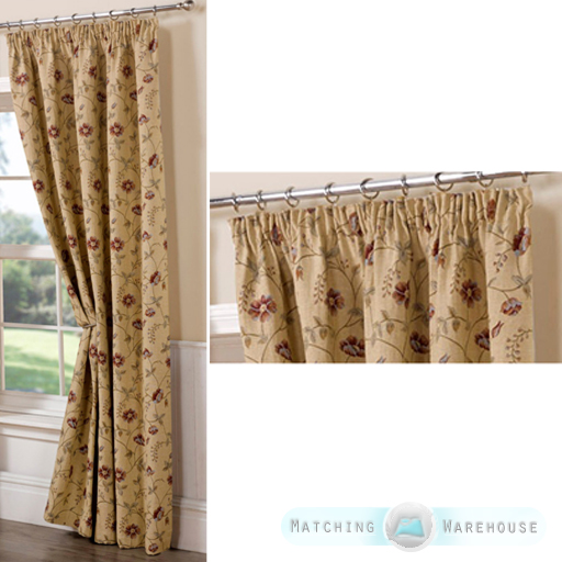 Floral tapestry pattern ready made curtains pencil pleat for Professional window treatment patterns