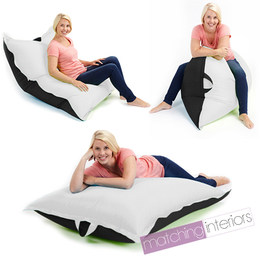 Floor Pillows For Adults : Black White Bean Bag Slab XL Large Beanbag Floor Cushion Adult Indoor Outdoor