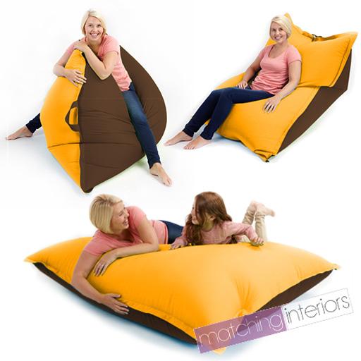 Yellow Brown Bean Bag Slab Xxl Giant Beanbag Floor Cushion