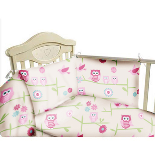 Cot Bumper Nursery Bedding Set Owls Twit Twoo Girls Baby