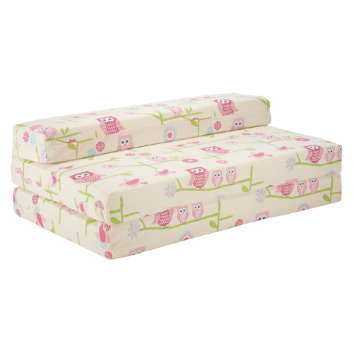 Owls Double Kids Folding Chair Bed Sofa Guest Mattress