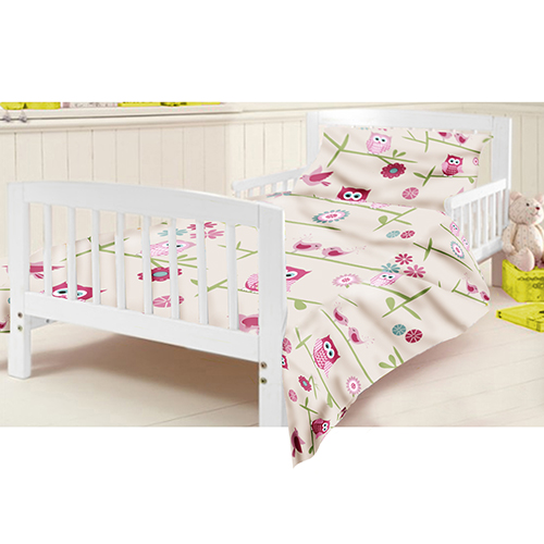 kinderbett junior bettw sche set eulen kinder kleinkind bett m dchen ebay. Black Bedroom Furniture Sets. Home Design Ideas