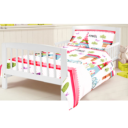 gitterbett junior bettw sche set paris kinder kleinkind kinderbett girl ebay. Black Bedroom Furniture Sets. Home Design Ideas