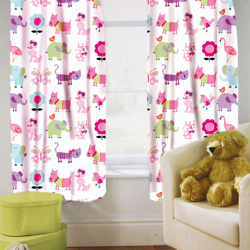 about Cute Pets Childrens Kids Curtains 167.6cm by 182.9cm + Tiebacks ...