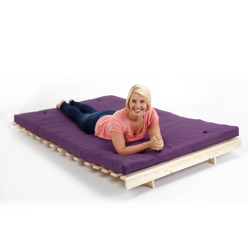 Purple 4ft 6 double children 39 s kids futon wooden sofa bed for Sofa bed 140cm wide