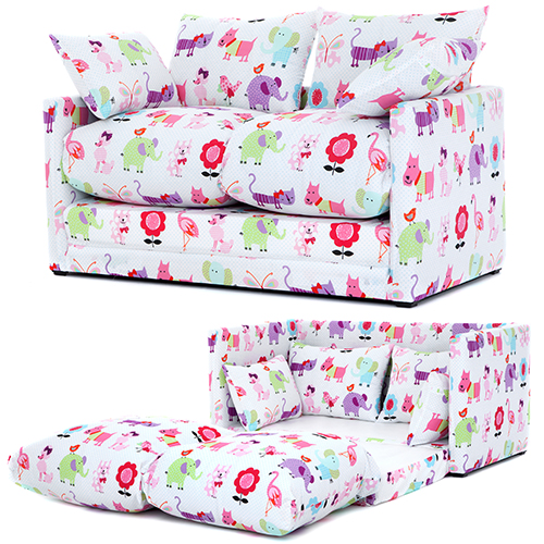 Cute Pets Print Children 39 S Bedroom Sofa Bed Fold Out Futon Guest Kids Furniture
