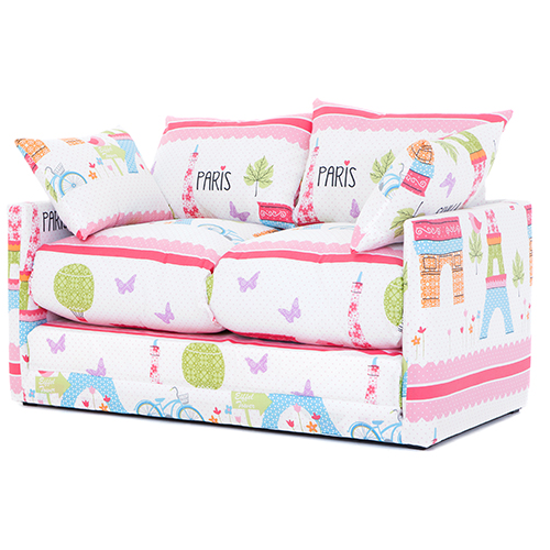 Paris city print children 39 s bedroom sofa bed fold out for Childrens beds