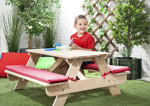 Pink children 39 s kids outdoor wood play picnic table bench for Kids outdoor furniture