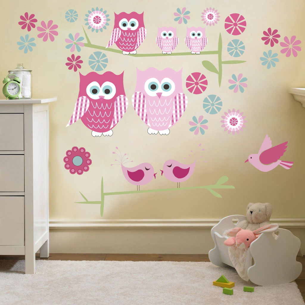 owls twit twoo wall stickers decals nursery girls room kids ebay