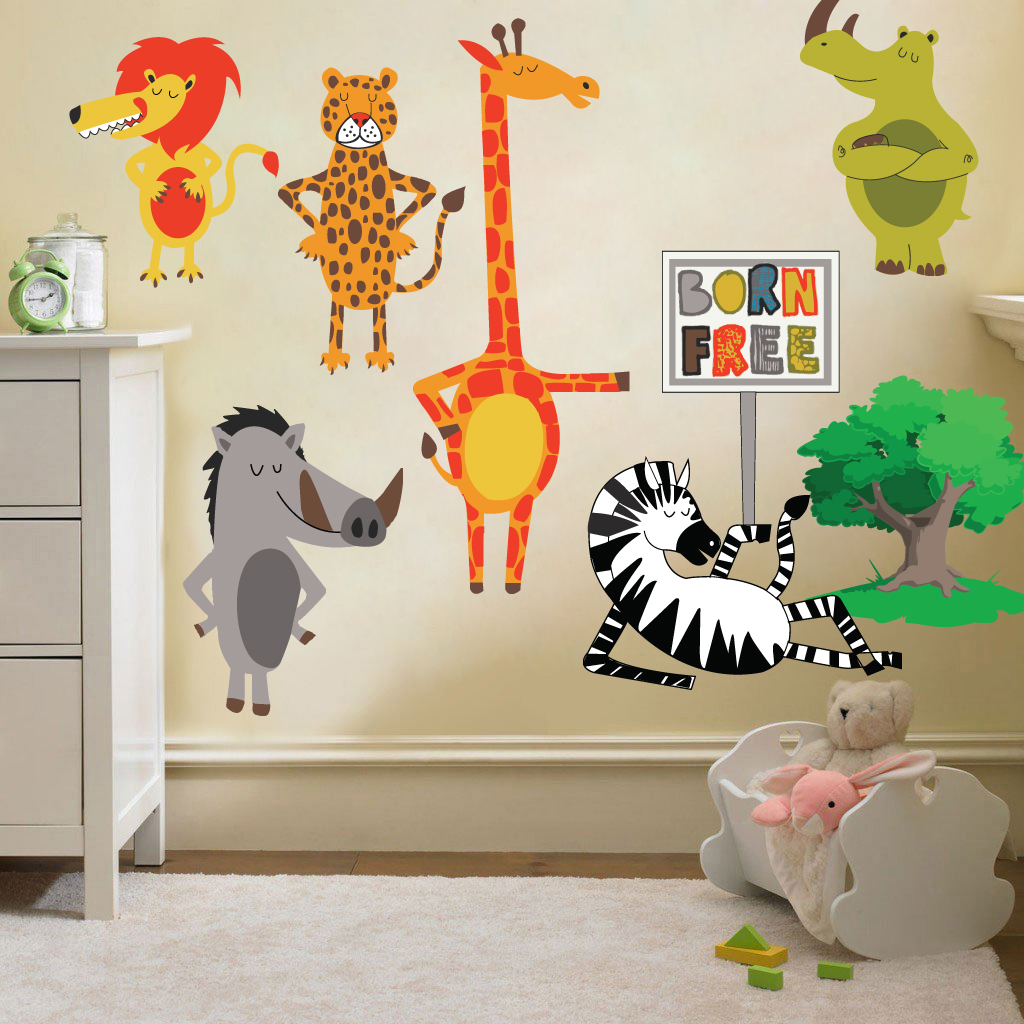 childrens born free animals jungle wall stickers decals animals alphabet children wall sticker vinyl wall decals