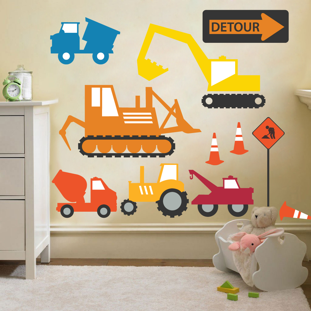 Kinder konstruktion fahrzeuge gr ber wand sticker for Kinderzimmer fahrzeuge