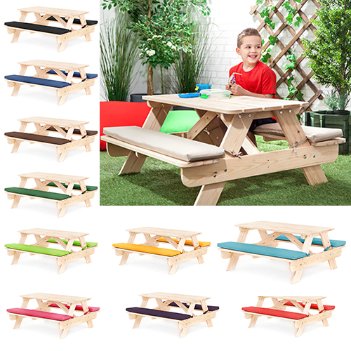 Children 39 S Kids Outdoor Furniture Wood Play Picnic Table Bench Set Garden Patio Ebay