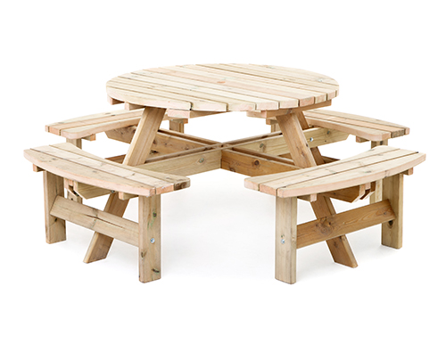 Seater pressure treated wooden pub bench round picnic