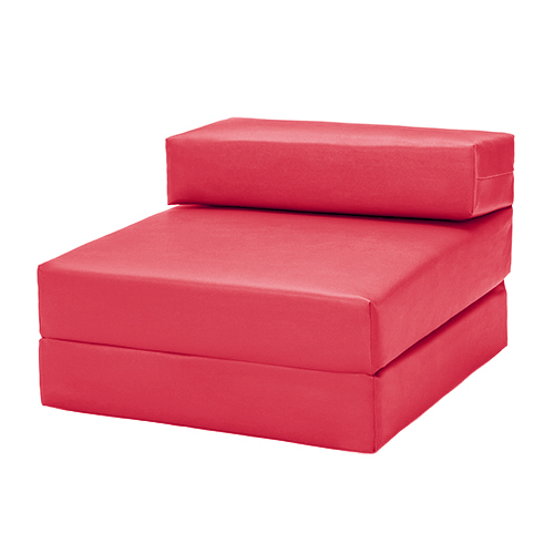 single chair bed z faux leather guest fold out futon sofa chairbed mattress foam ebay. Black Bedroom Furniture Sets. Home Design Ideas