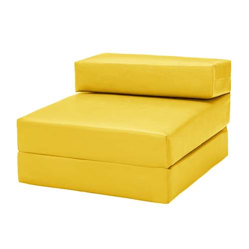 Yellow Faux Leather Single Chair Z BED Guest Fold UP Futon Chairbed Mattress